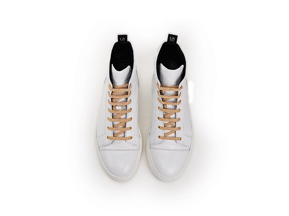Imprimé Blanc Cuir Montantes Italian Shoes Baskets De Crocodile Gianmarco En DisDesign 35jLAR4
