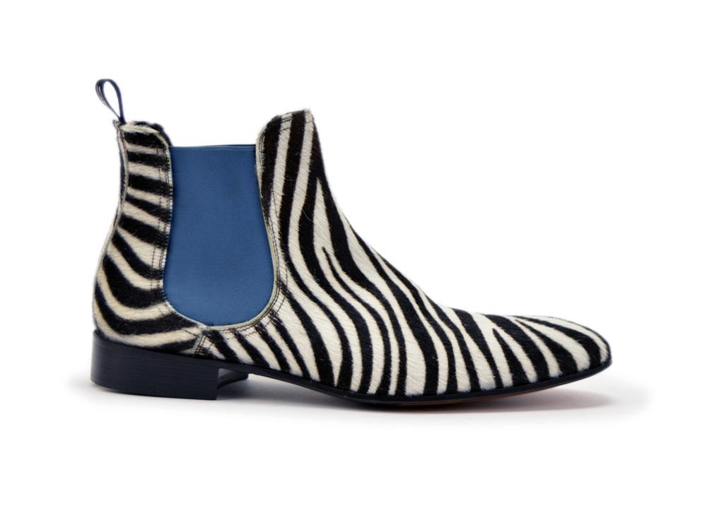 DisDesign Shoes Pour En Roberto Chelsea Italian Zèbre Botte Poilu Cuir Hommes 4L35AjcRq