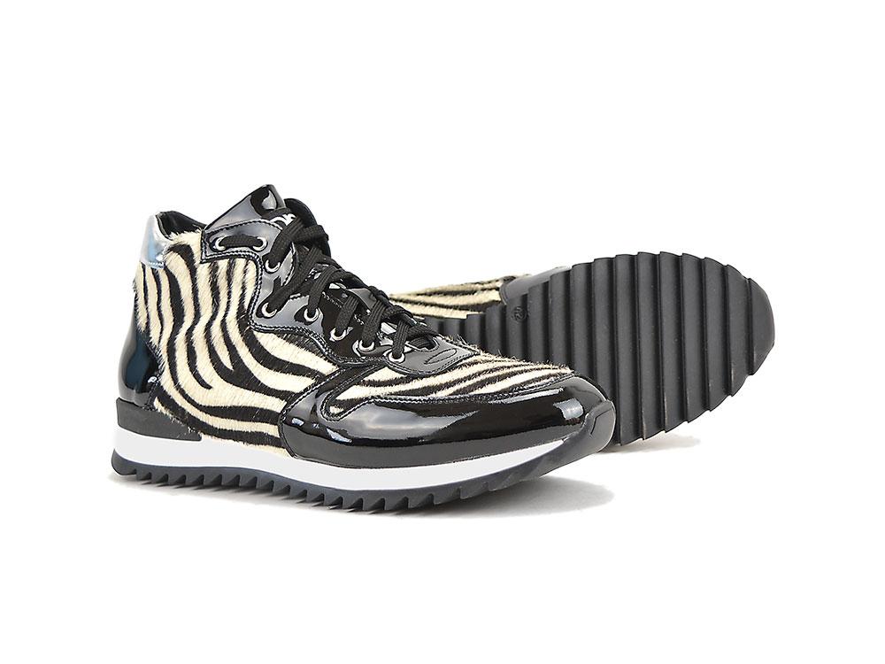 Zippé Italian Shoes Cuir DisDesign Romano En Haut Noir Brillant SLUqzVMGp