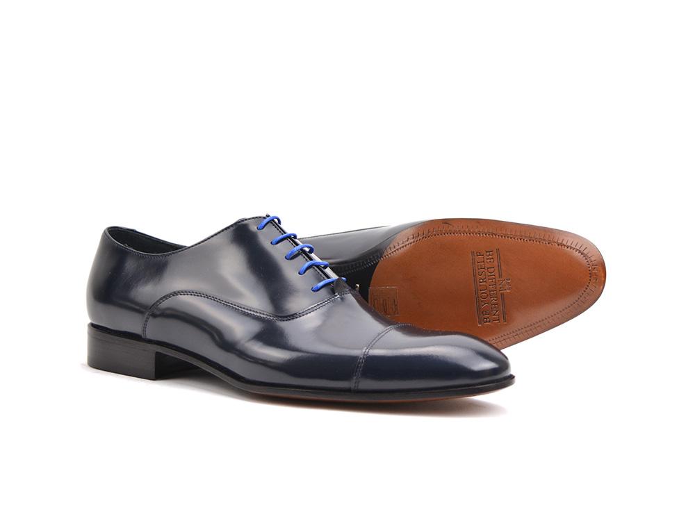 Totò Italian Cuir En Brillant Bout Shoes Hommes DisDesign Bleu Des nOwX0Pk8