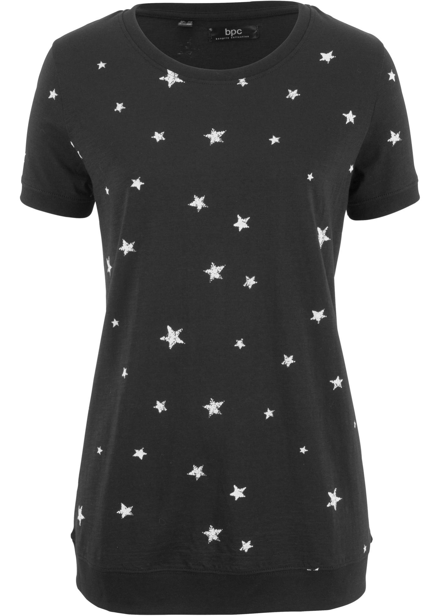 Bonprix CollectionT Noir Bpc Femme Pour LégerDemi shirt Coton manches Ygyvbf7Im6