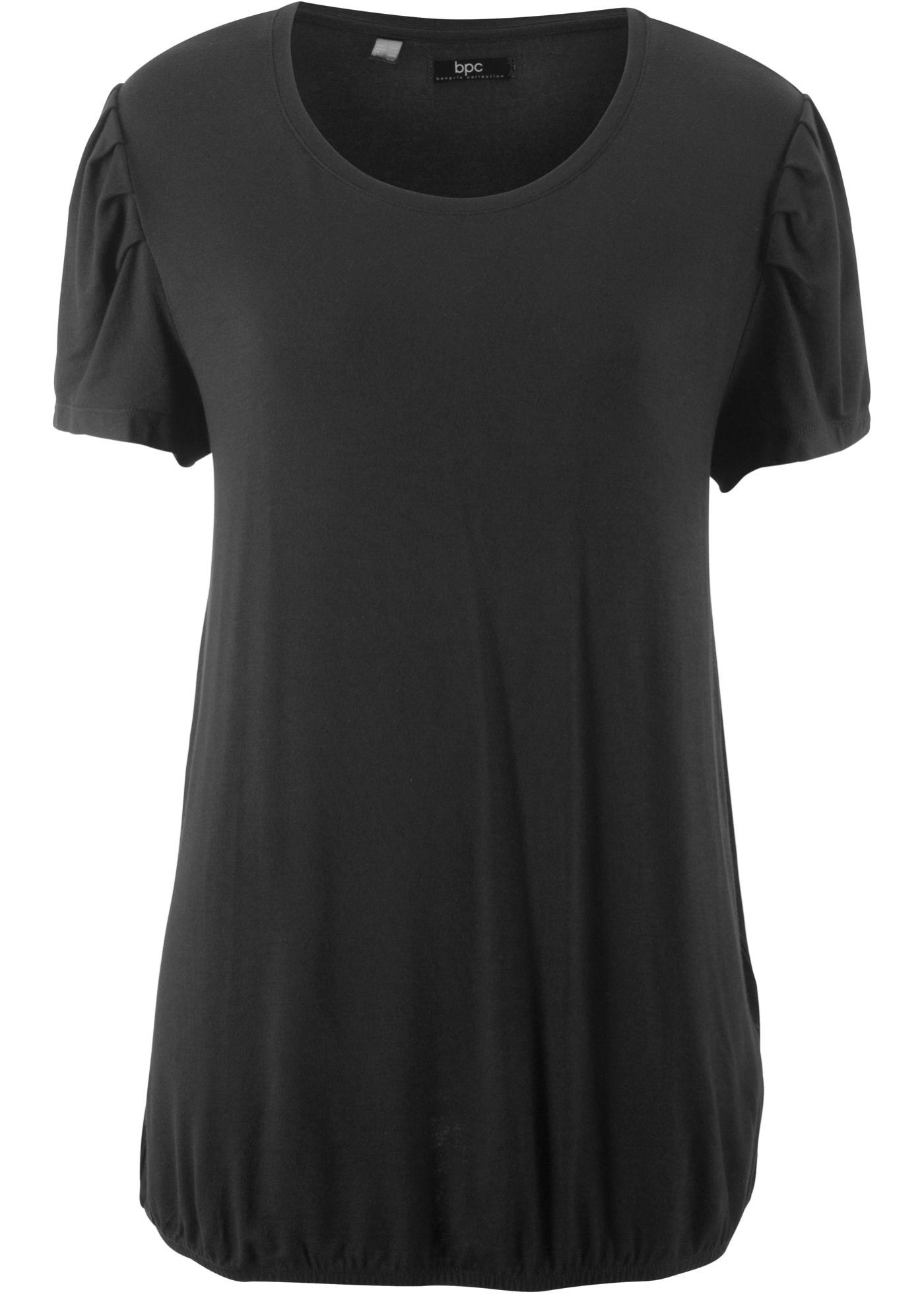 Pour Femme Manches Bpc Noir Avec shirt Fronces Courtes Aux Bonprix Épaules CollectionT ZukXiwlOPT