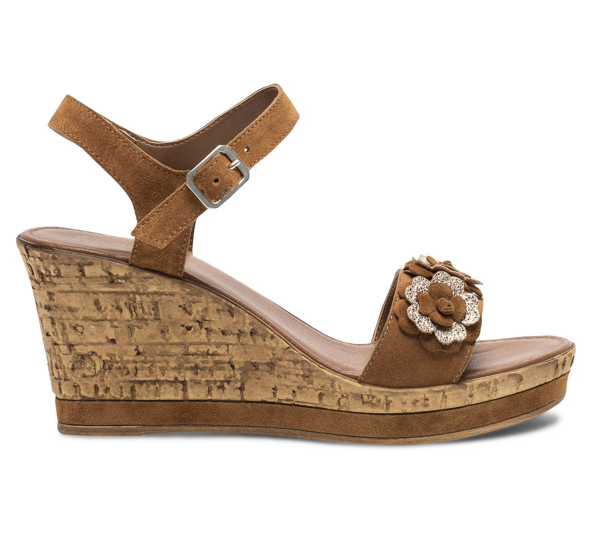 Eram Sandale Compensée Or Avec Fleurs Camel Cuir En De Croûte D2E9HI