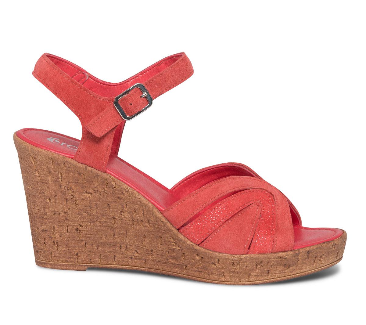 Compensée Cuir Sandale En Corail Velours Eram uOkiTXZP
