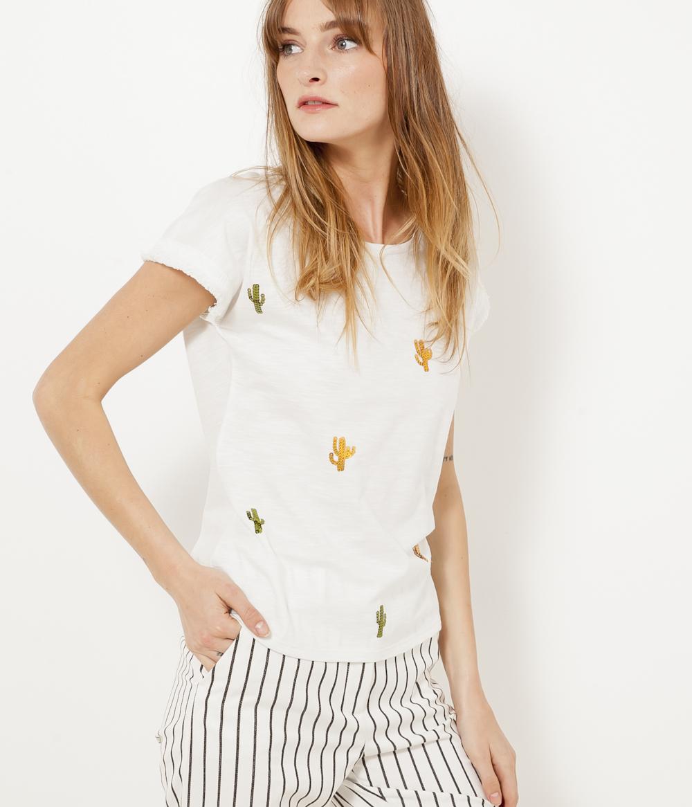 Camaïeu Sequins Cactus shirt Femme T L5Rj4A3