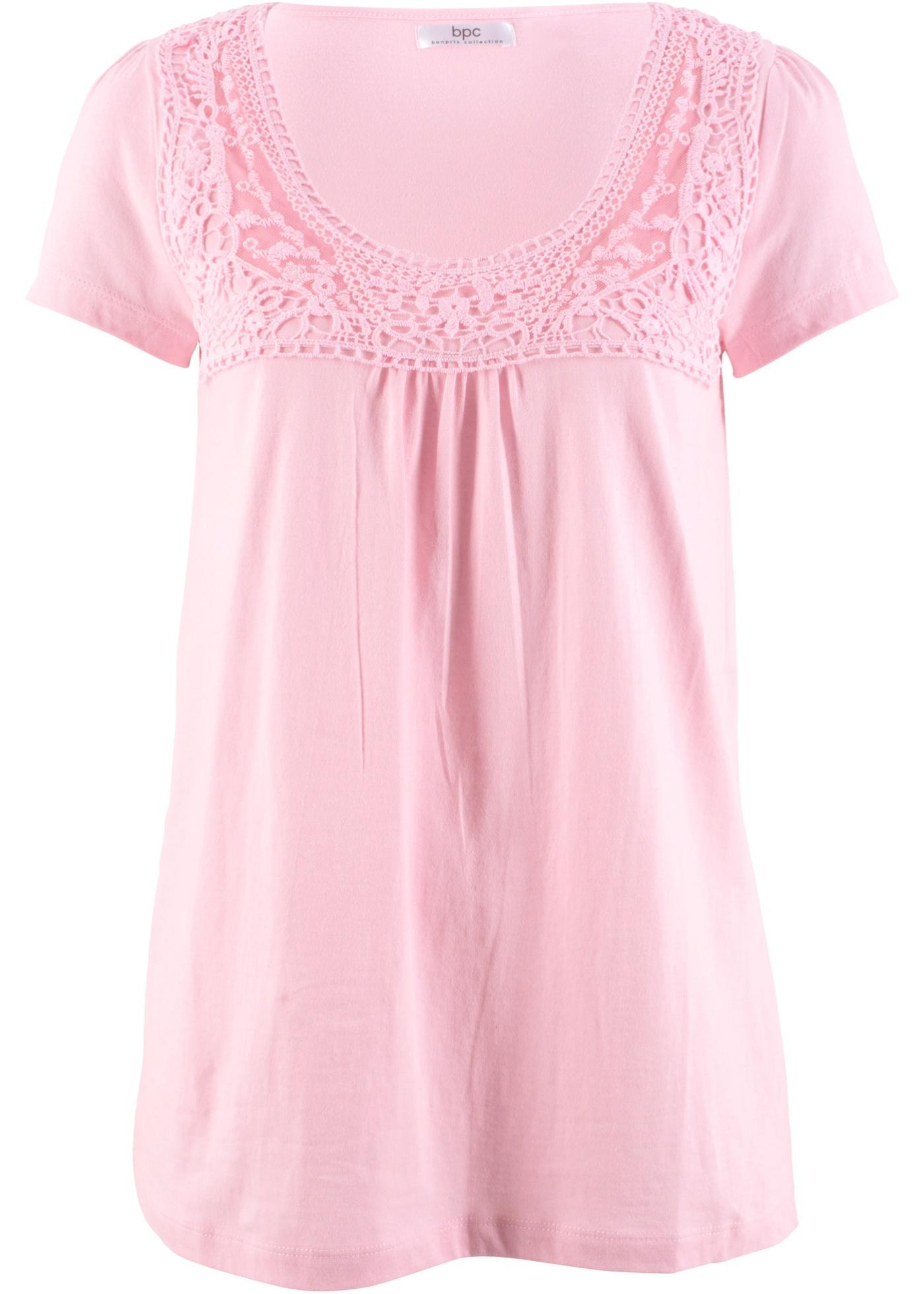 Rose Courtes Bonprix Bpc Coton À shirt Femme CollectionT DentelleManches Pour QodBxEreWC