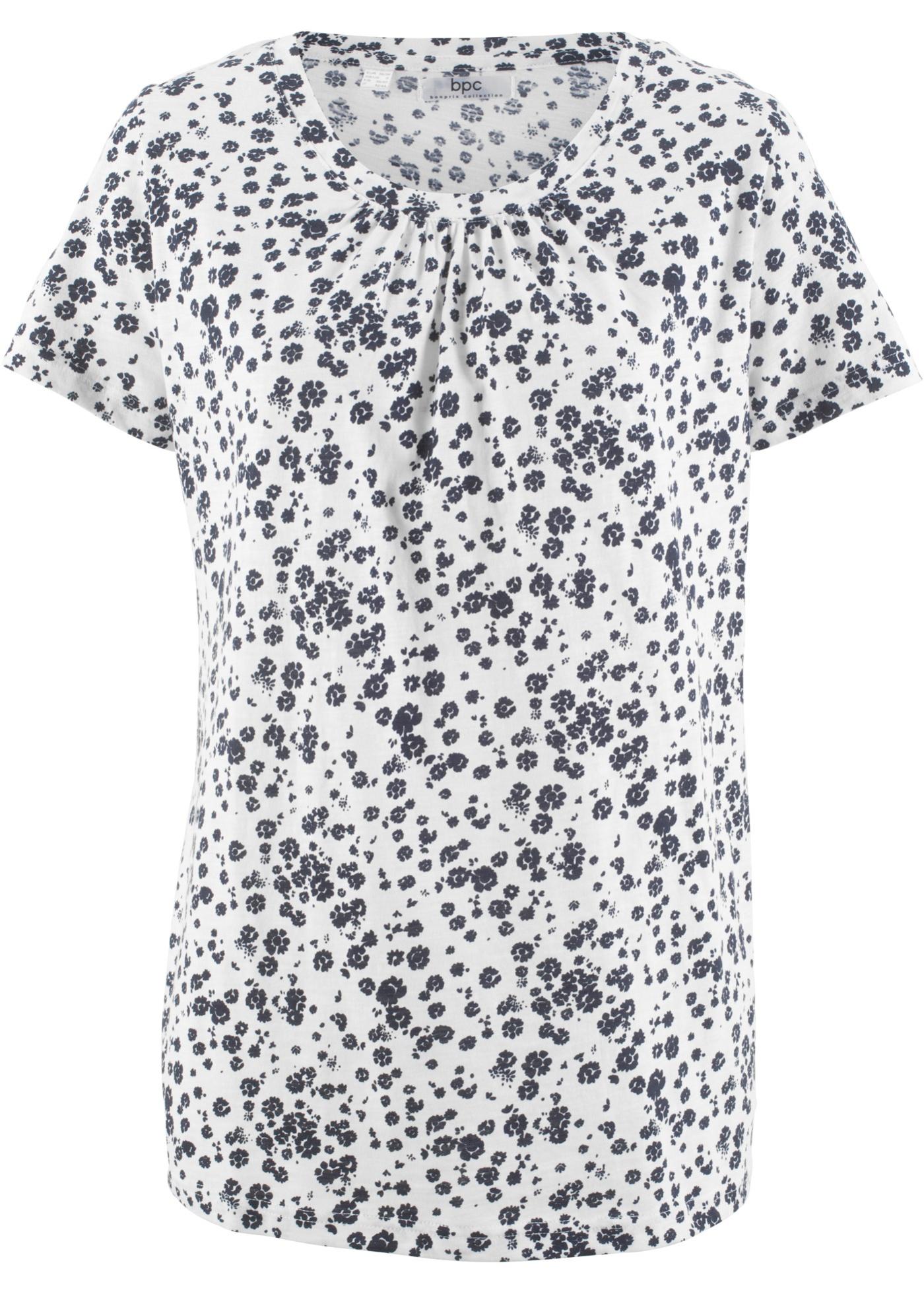 Avec shirt Col Courtes Fronces Bonprix Femme Au Blanc Manches Bpc Pour CollectionT Coton Xn0wOZ8NPk