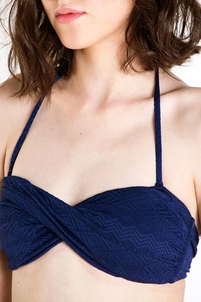 L Femme ElasthanneTaille Haut Bonobo Motif Maillot Bain Bleu De 4R35jLA