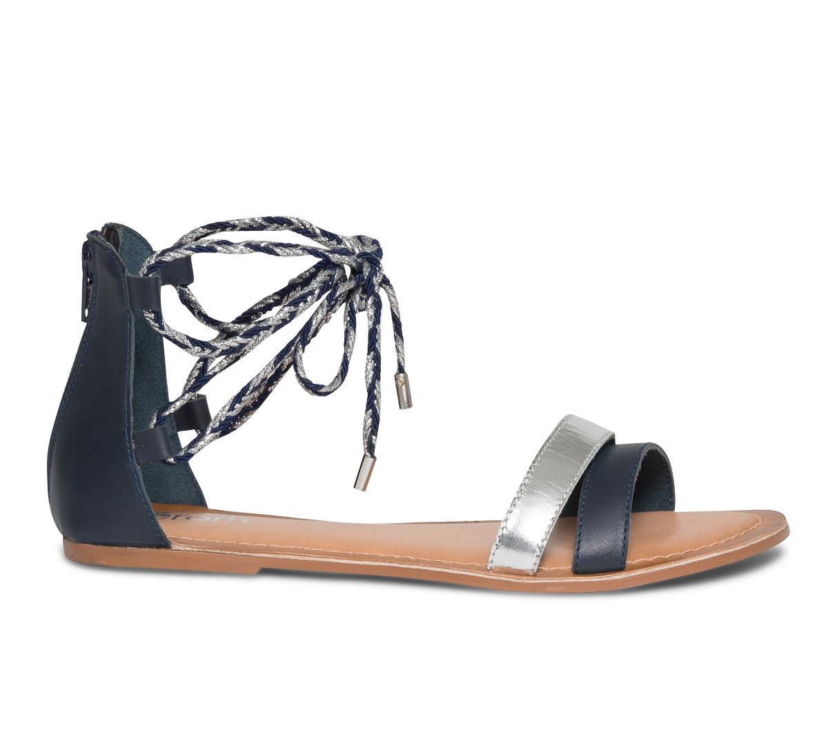 Sandale Eram Bleu Marine Lacet À Et Argent 0Nnm8w
