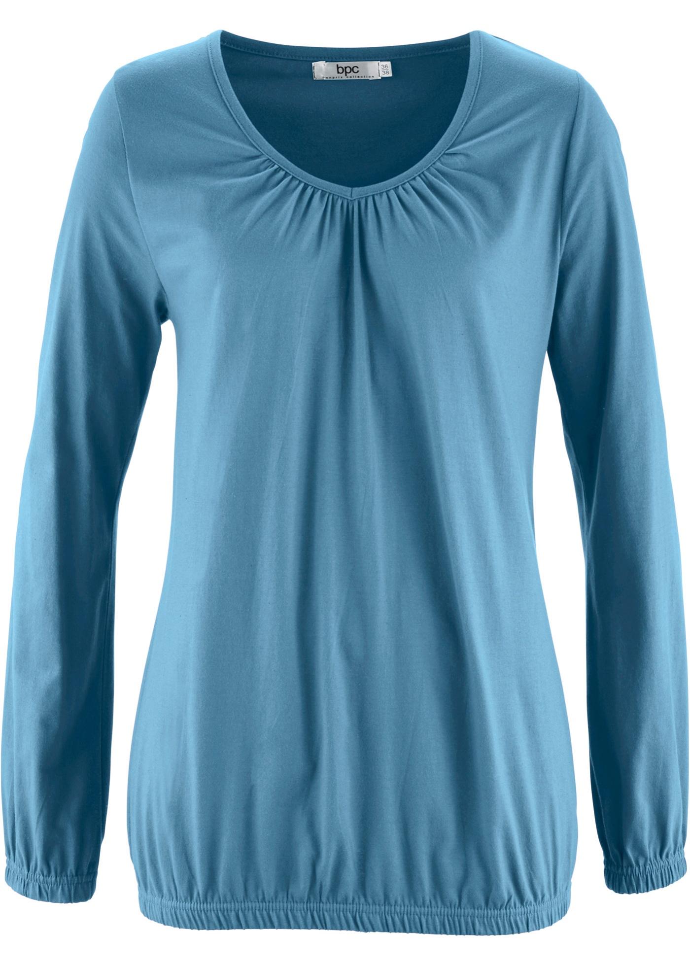 Manches Pour CollectionT Bpc Bonprix shirt Longues Femme Bleu rBtdhsQxC