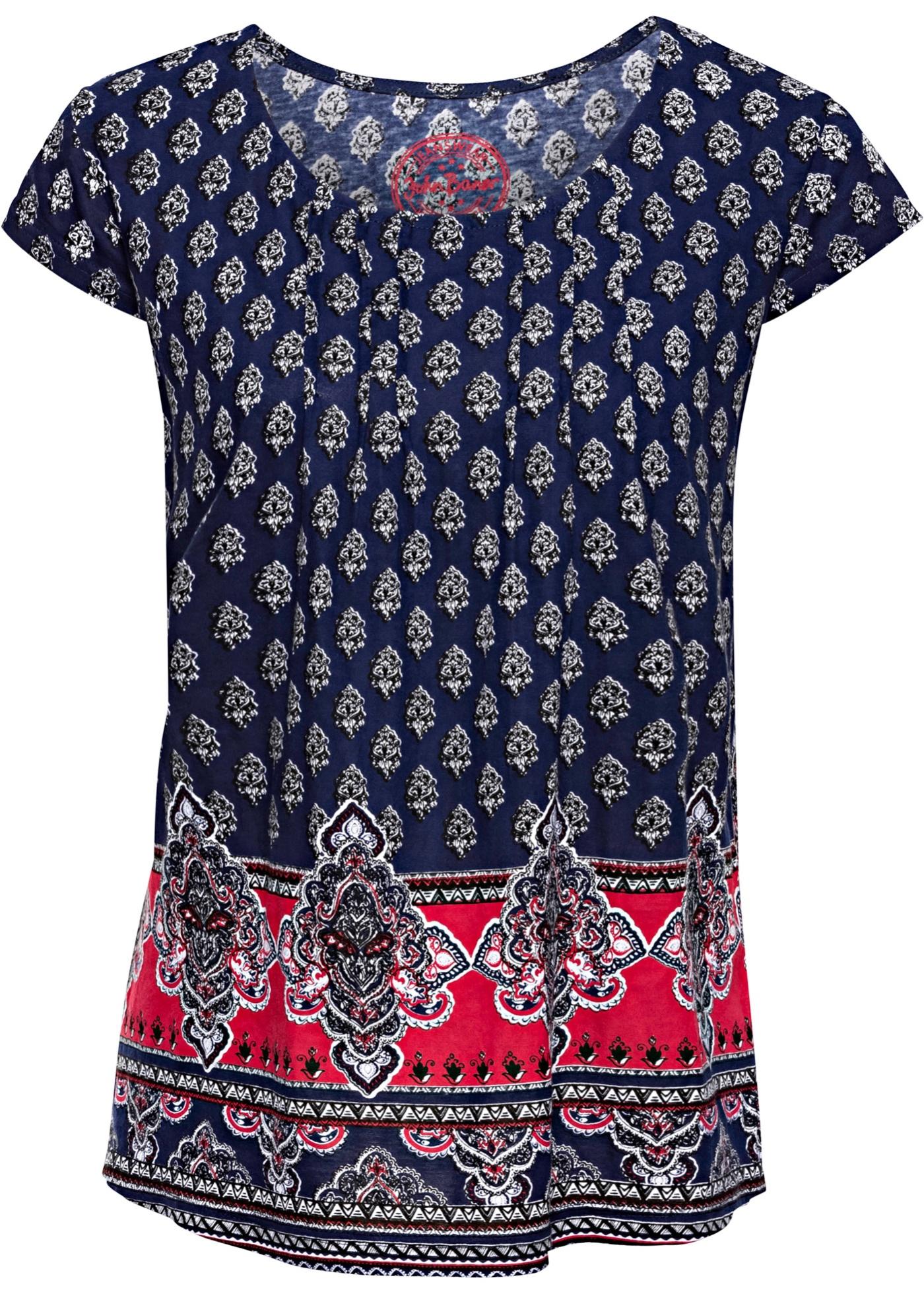 Bleu Jeanswear Pour shirt Baner John BonprixT Manches Femme À Courtes Imprimé Coton Ygyvbf67