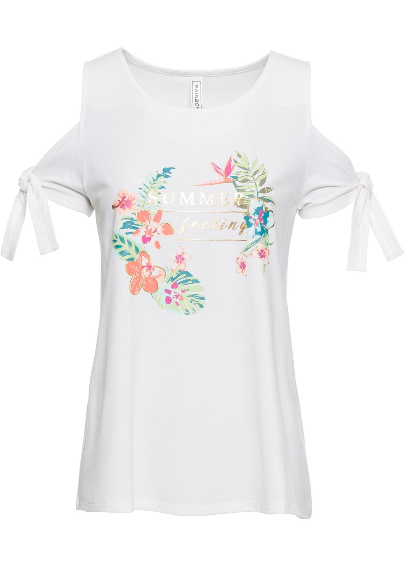 shirt Pour Courtes Découpes BonprixT Blanc Femme Rainbow Avec Manches 4RL5Aj