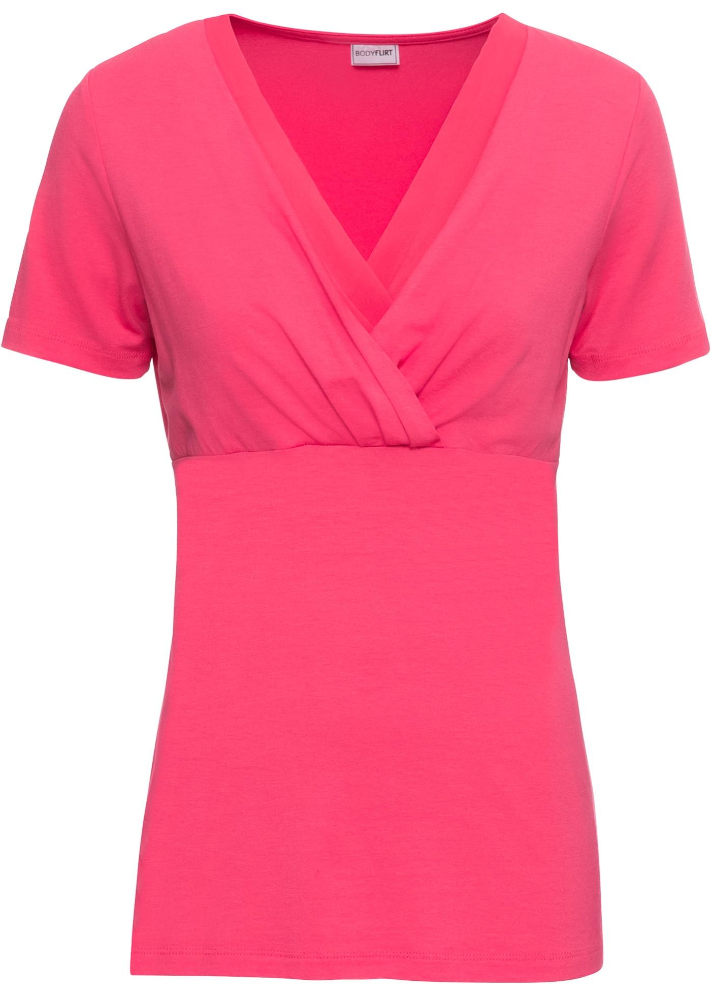 En Courtes Pour À Femme Empiècement Chiffon Bodyflirt Fuchsia BonprixT shirt Jersey Manches WIDH29EY