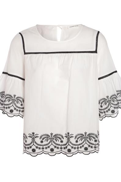Brodée Cache Ample Blouse 34 Taille Blanc CotonFemme UpqVSzM