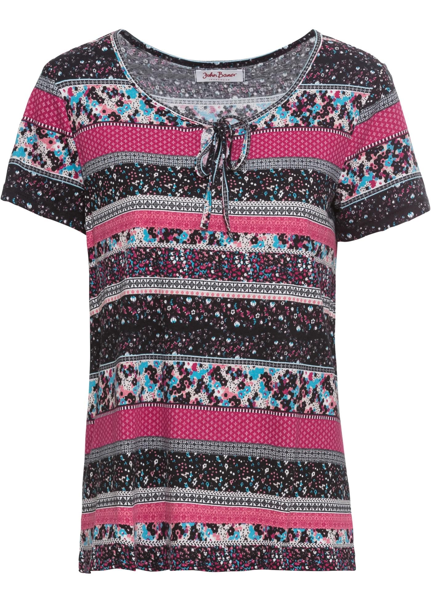 Jeanswear Courtes John Pour NouerImpriméManches Baner Noir shirt Avec Femme À Lien BonprixT w8OknP0