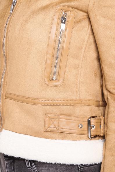 Façon Lainée Taille Peau Col PolyesterFemme Sherpa Beige 34 Veste Cache OXikPuZT