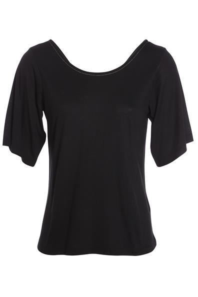 T Noir Cache Manches ViscoseFemme Taille Courtes Liseré Métallisé S shirt dChxrtsQ