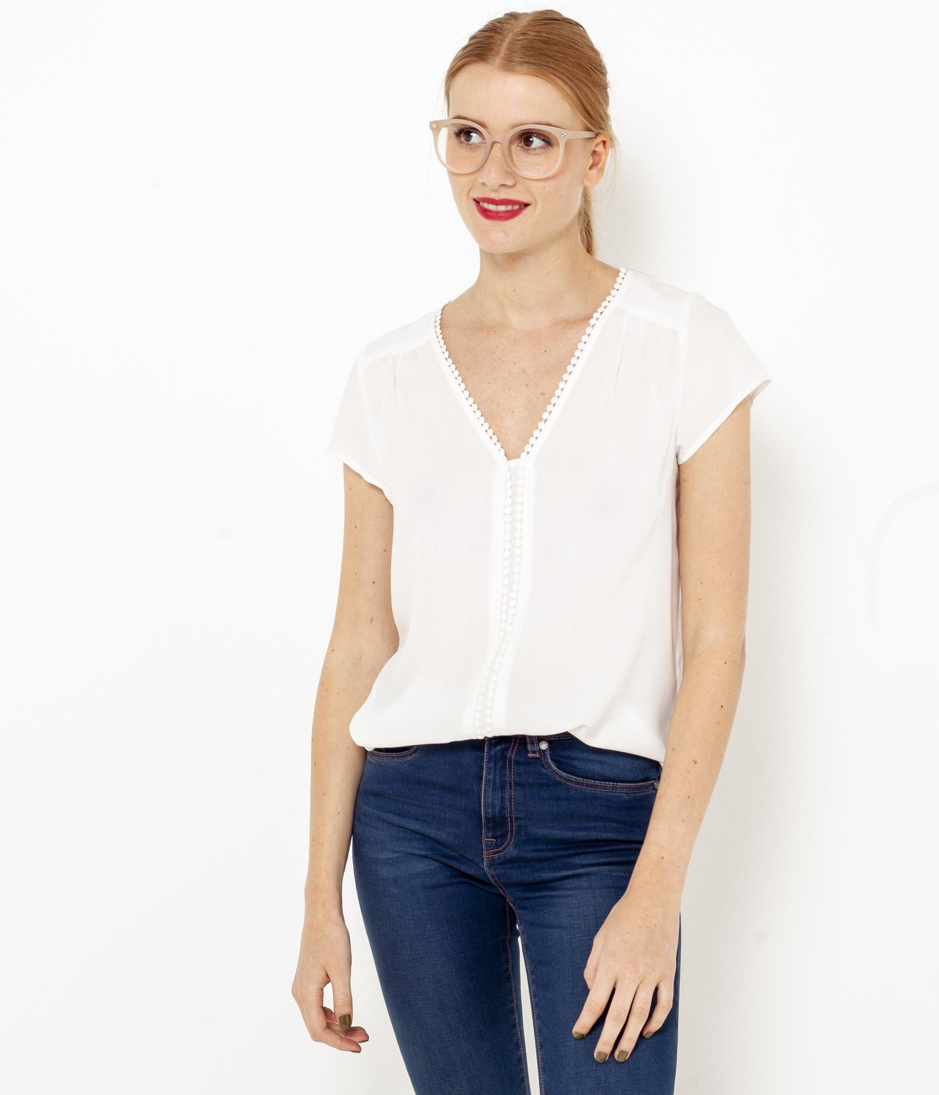 Asymétrique Camaïeu Dentelle Femme shirt T byIYv7gf6