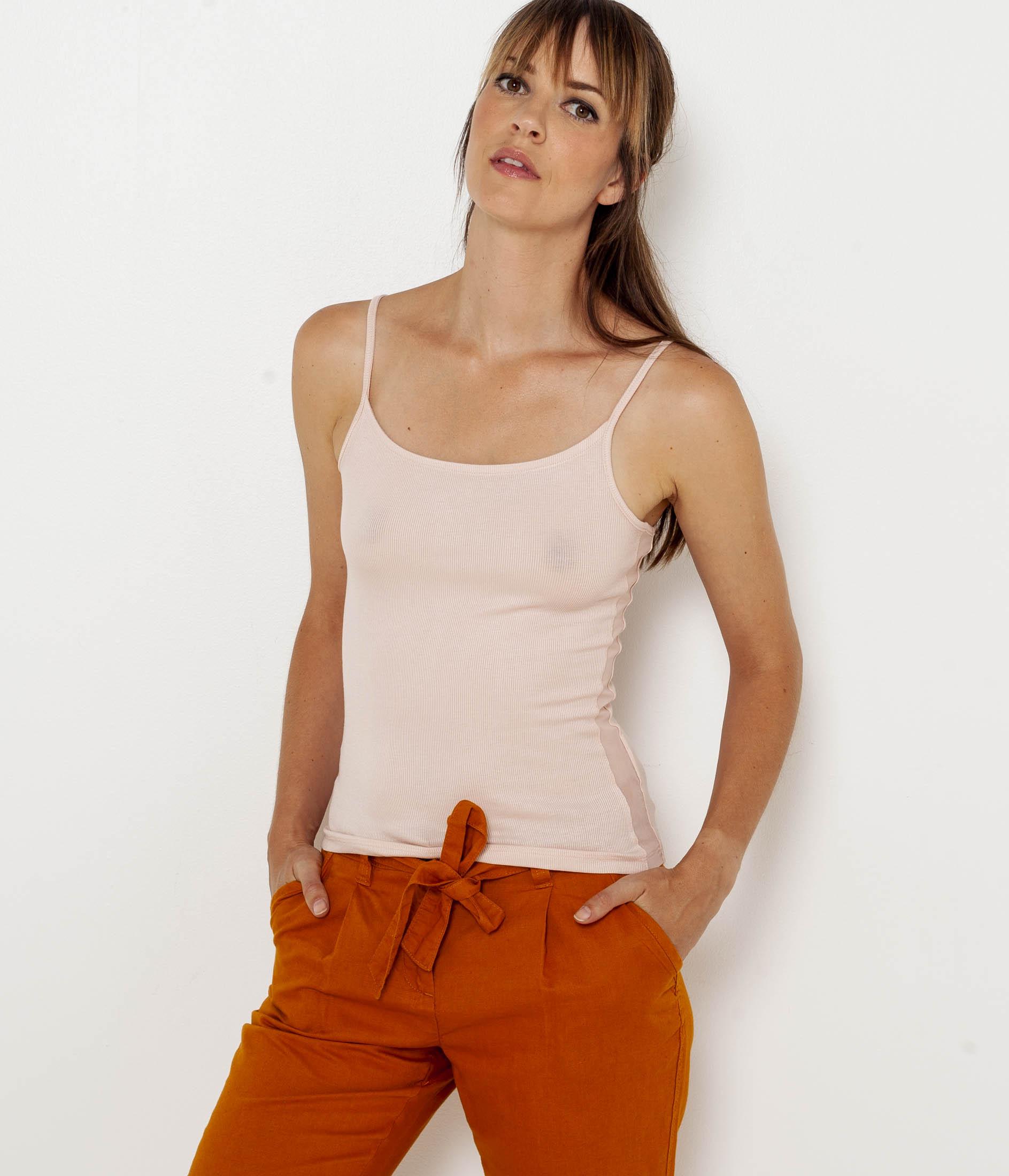 Bretelles Camaï Côtelé Top Fines Femme Camaïeu T1FJclK
