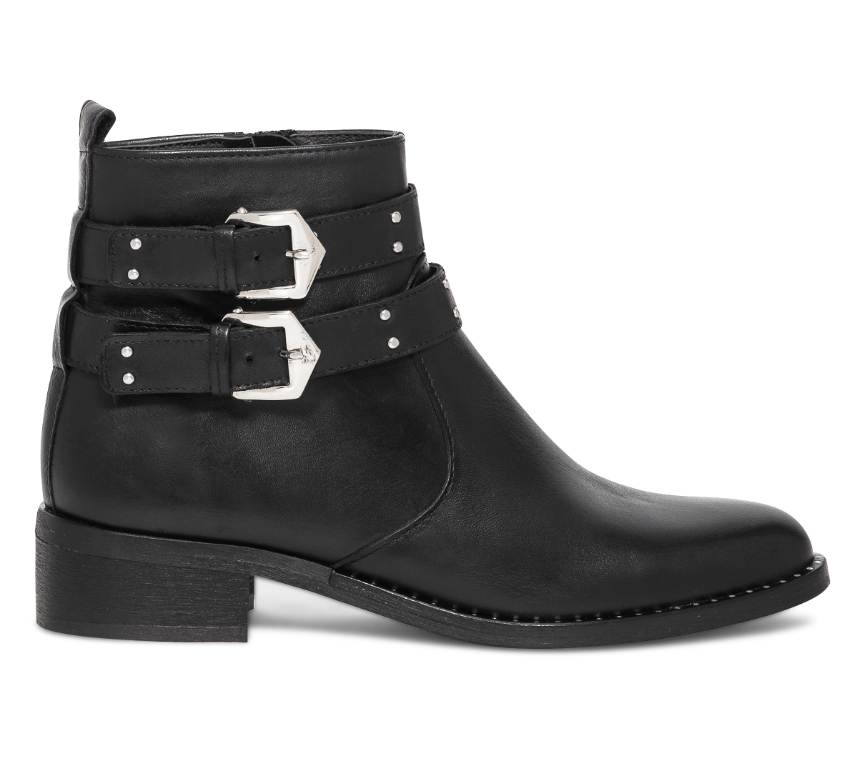 Noir À Eram Brides Boots Cloutées Cuir qVzMGSUp