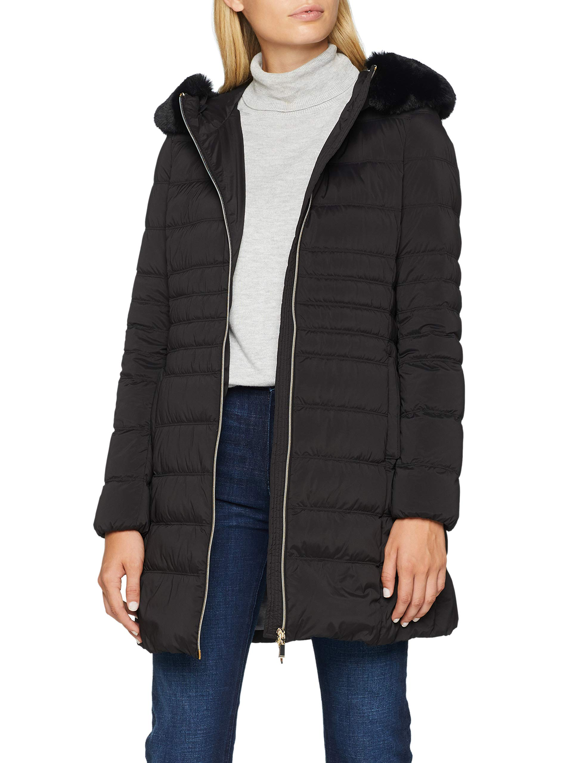 Parka Zosma noirblack W Geox Quilted F900034taille Sleeve Femme 40 Fabricant Long 5R4LAj