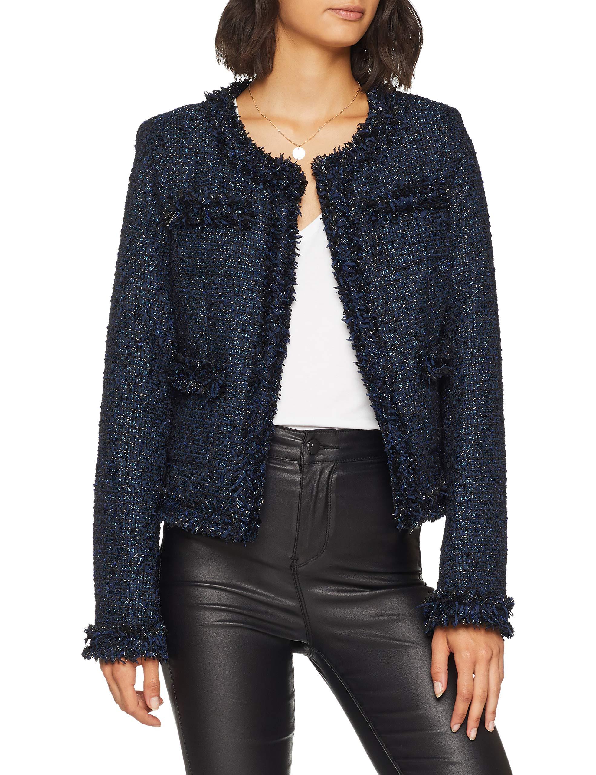 Femme blue Guess Giubbotti Com Jacket Black Ft61Medium Elisa ManteauMulticoloretweed 7Ybfvgy6