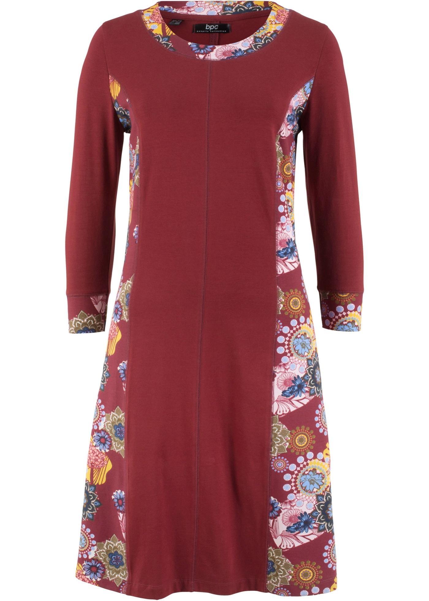 Pour Femme CollectionRobe 3 Bpc Bonprix Manches 4 D'été Jersey Rouge orCxdBe