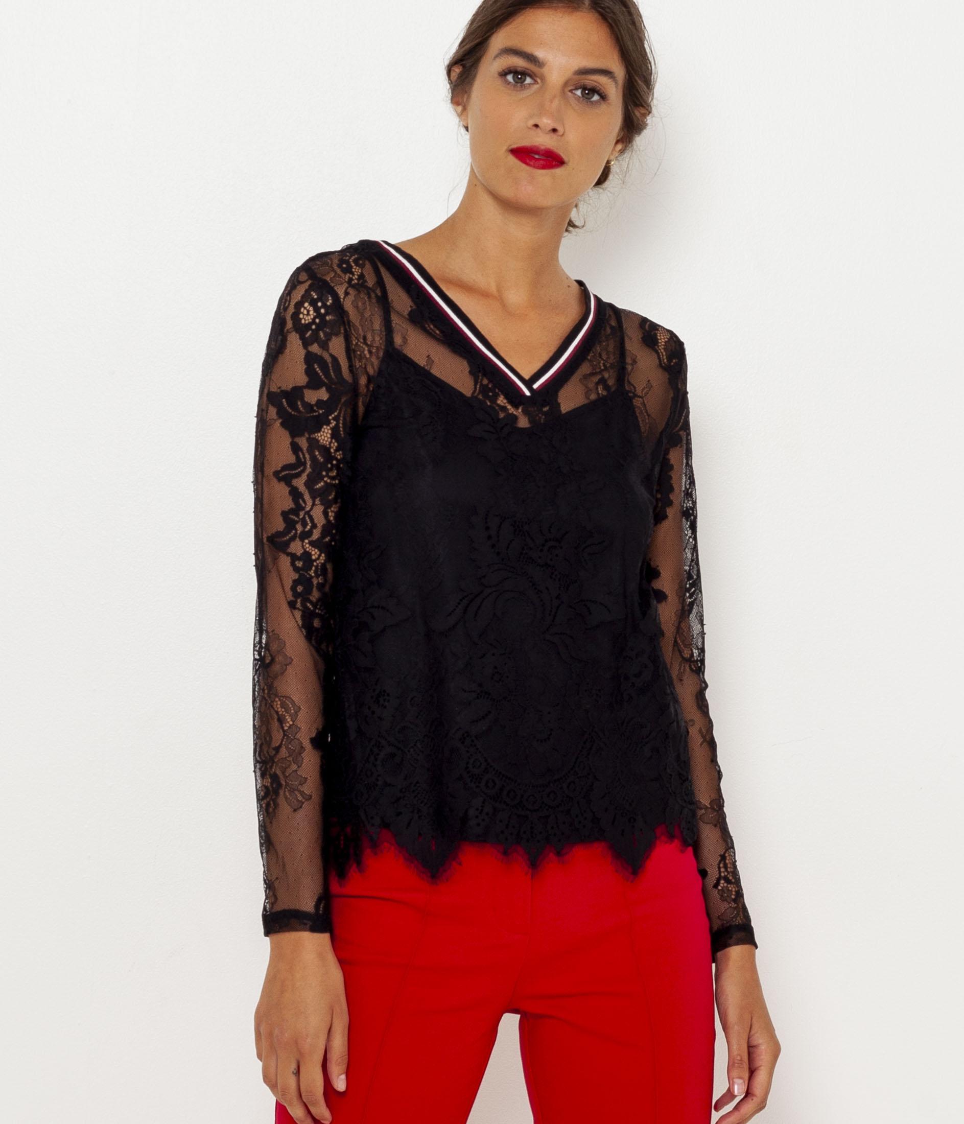 Camaïeu Femme T Dentelles Manches Longues shirt NnkwO8Z0PX