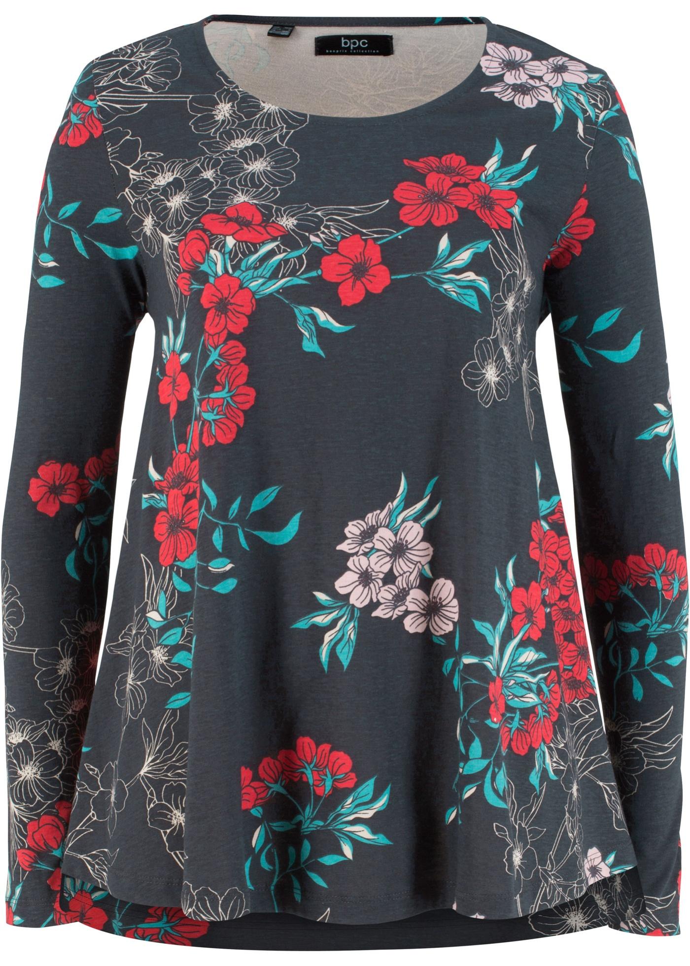 Tunique Bleu Femme Bonprix shirt Bpc CollectionT Pour Longues CotonManches dWCxBero