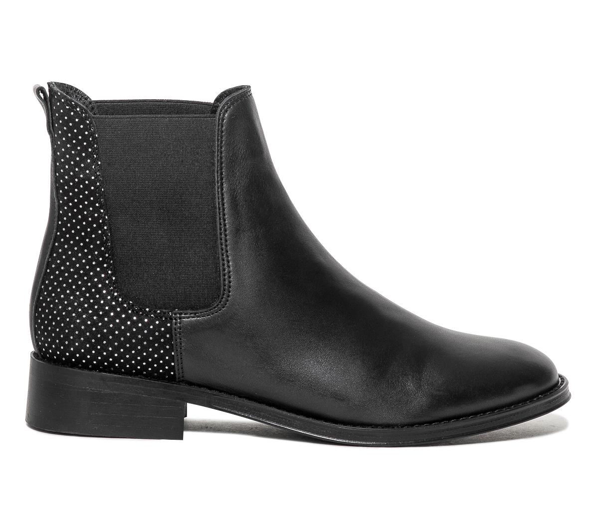 Argentés Noir Boots Chelsea Eram pois Cuir Micro À ZuOXiwPlkT