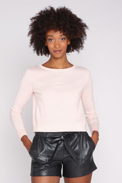 Longues Rond Pull Cache Uni Rose Col Taille AcryliqueFemme Manches L 1ucJTKF3l