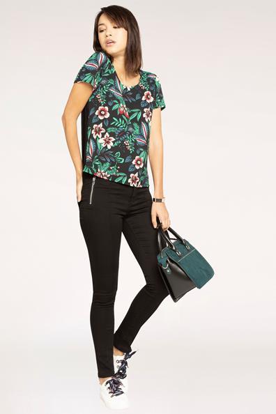 À Zippées Noir 34 Taille PolyesterFemme Poches Jeans Cache Skinny Uni thdsQr
