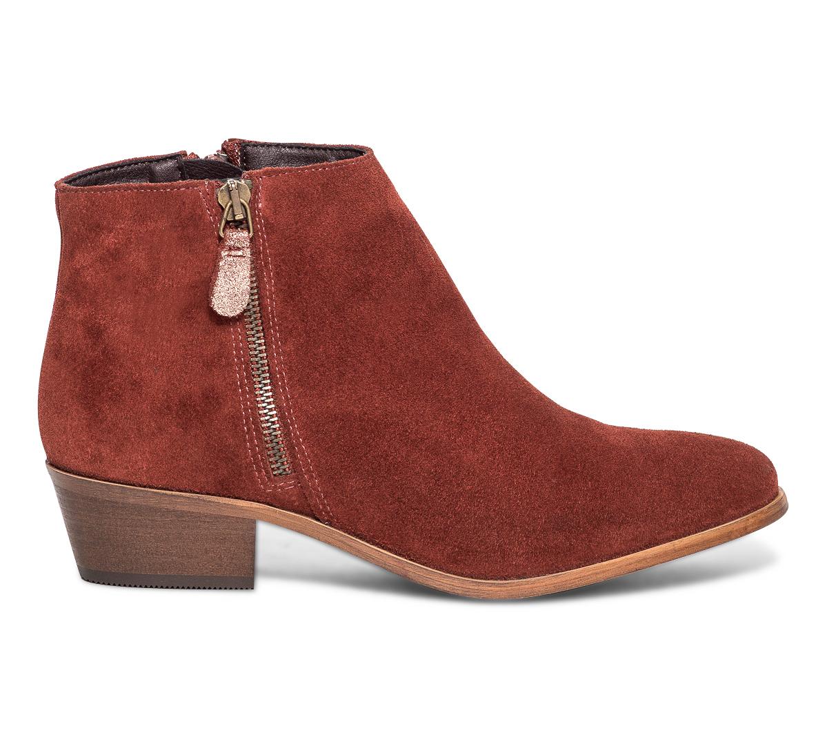 En Velours Boots Eram Cuir Brique CBedxoEQrW
