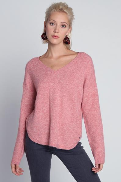 Rose Pull Chinée Taille Longues Maille L ElasthanneFemme Bonobo Manches kX8Pn0Ow