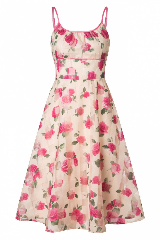 Crème Dress Roses En Années Vixen Tabitha Swing 50 0wOPk8n