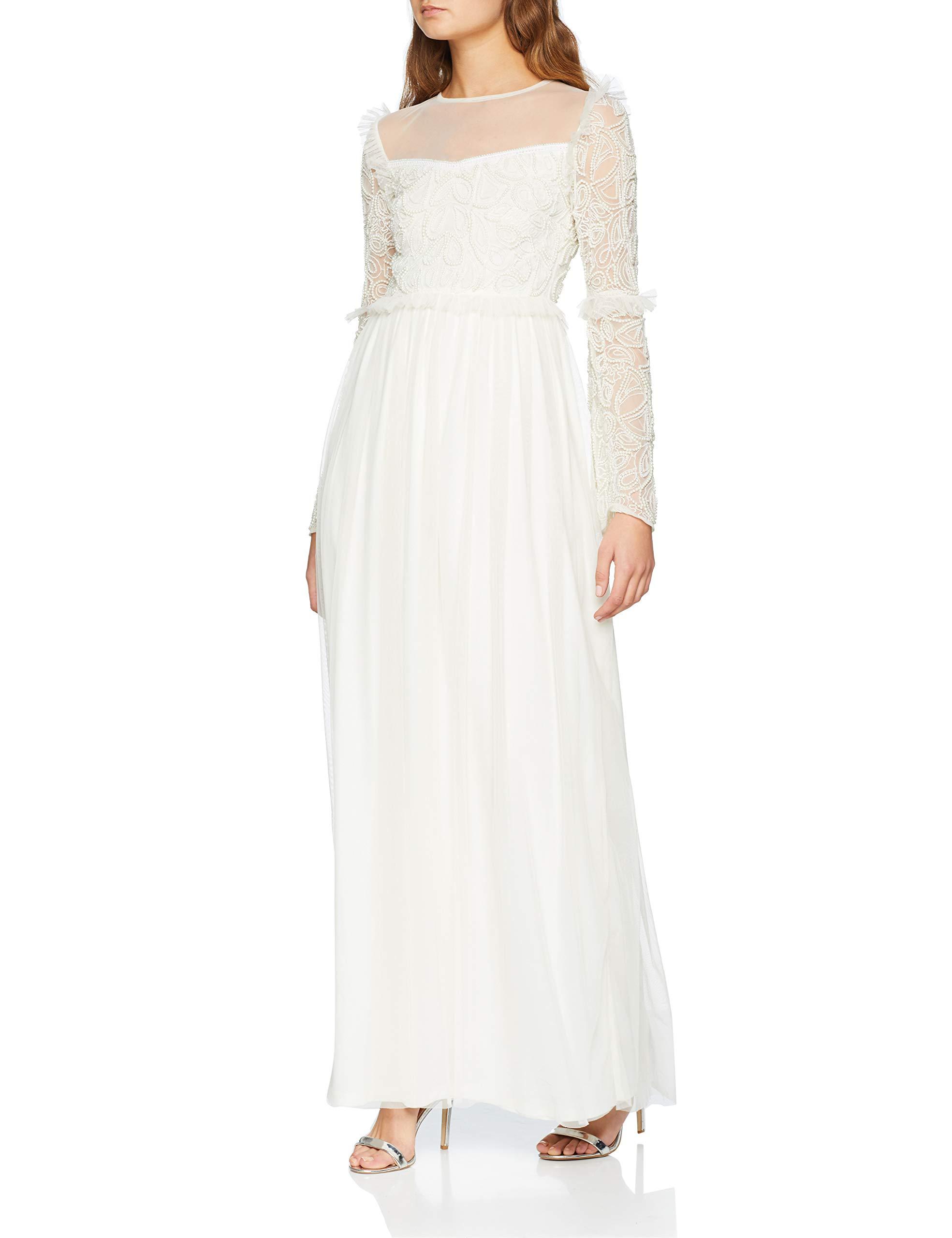 Bodice Embellished Maxi With Ffffff42 Amelia Rose Femme RobeBlancwhite Dress Long Sleeves wuOPiTkXZ
