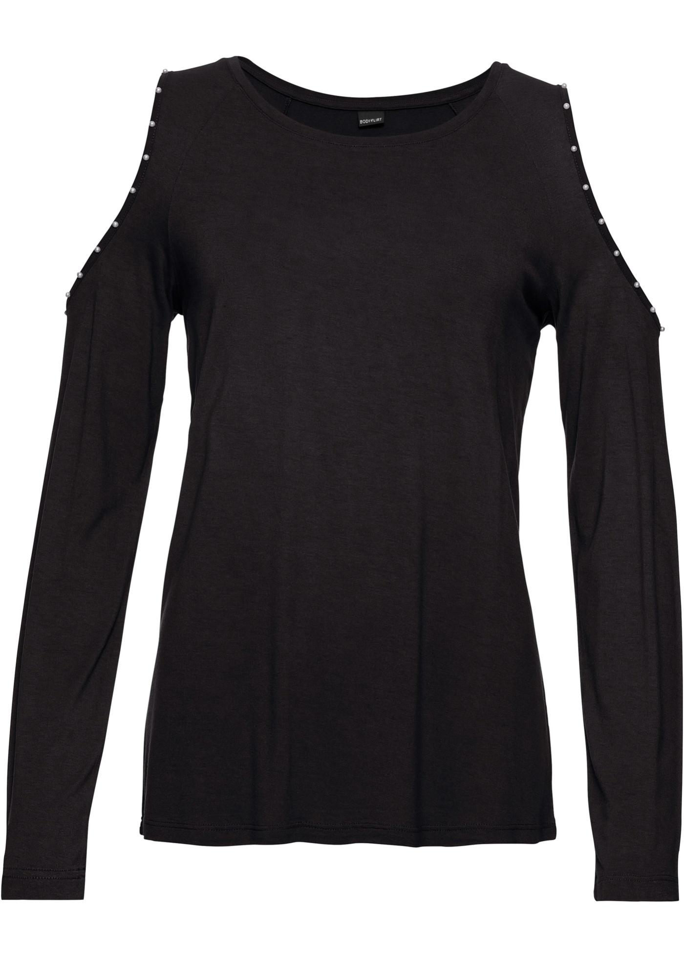 Manches shirt Femme Pour BonprixT Noir Bodyflirt Longues T5lKc13FJu