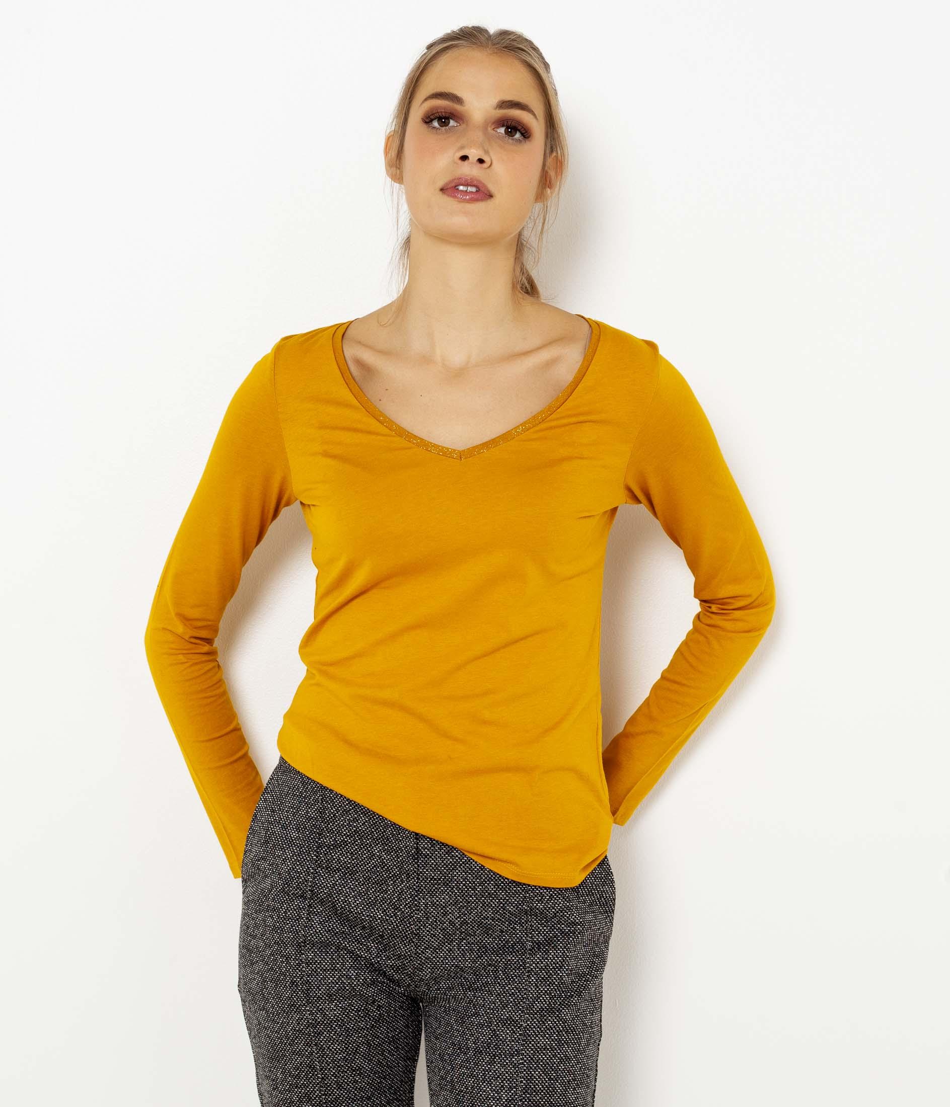 V Longues T Femme Col shirt Camaïeu Manches ymNO08wvn