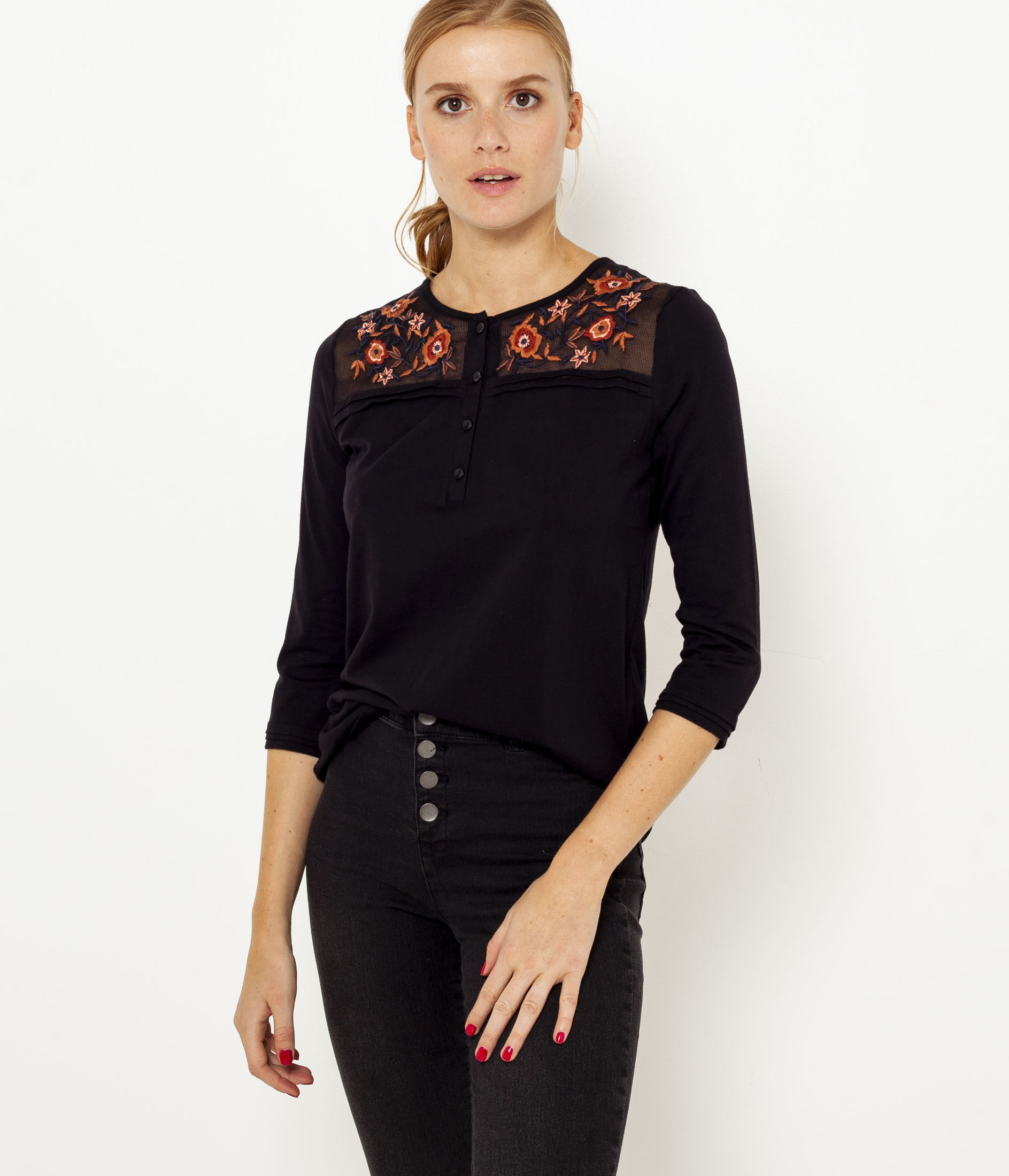 shirt T Empiècement Camaïeu Brodé Femme ZiuTwOPkX