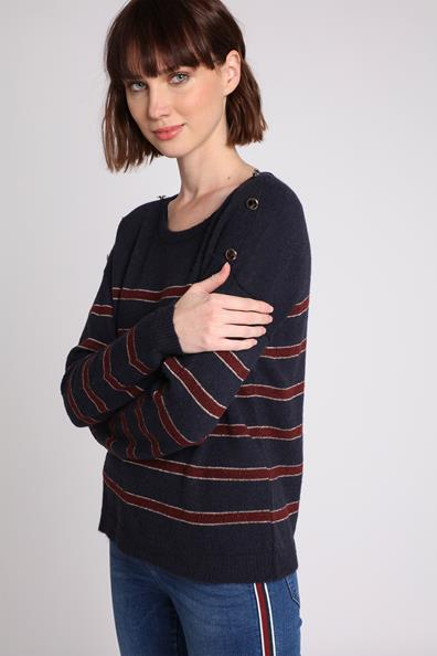 Bleu Taille Boutonné L Marin Pull MetalFemme Cache EDYWe2IH9b