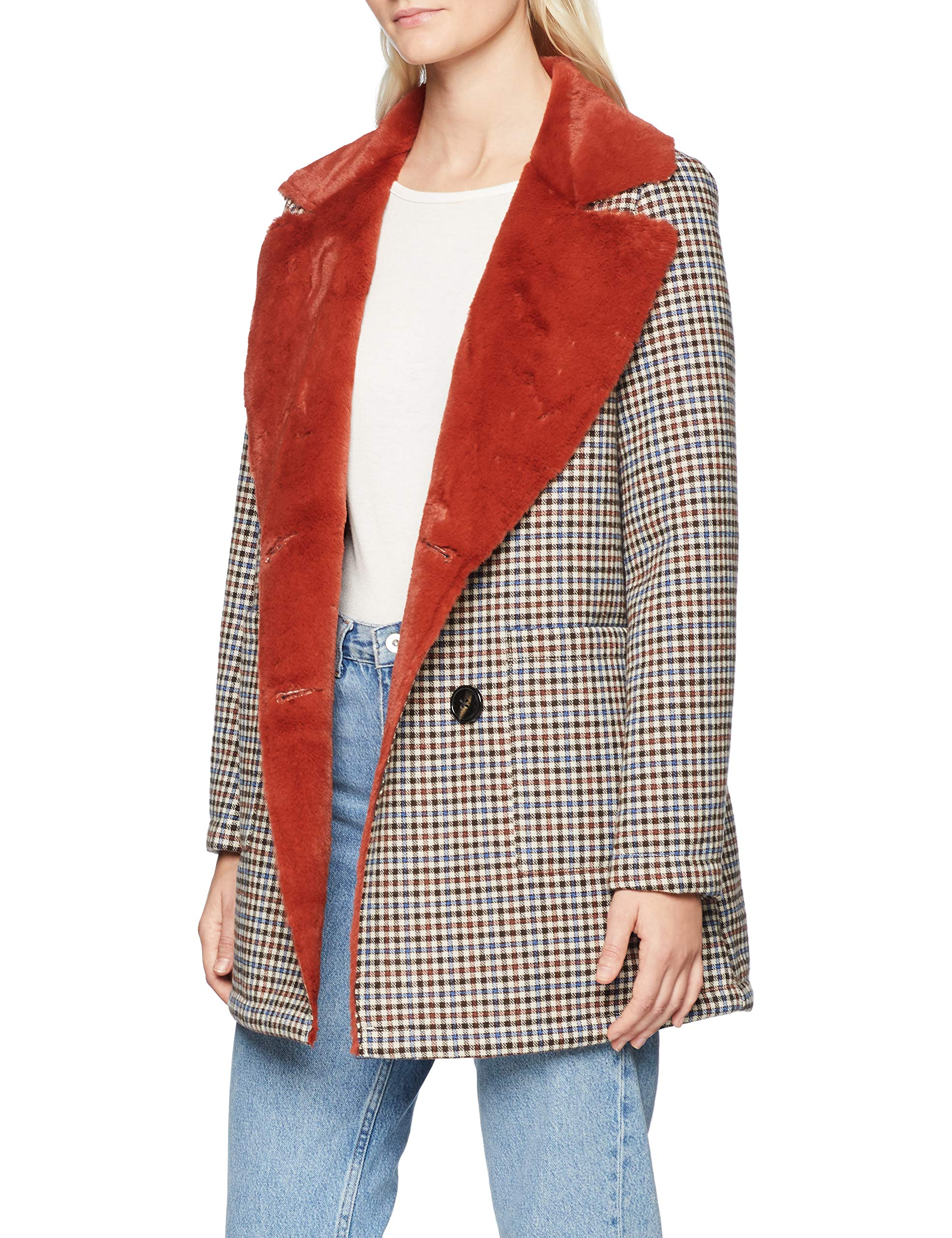 Coat amp;royal 26044 ManteauMarrondark Fur Cinnamon Double Rich Femme Check Face HDIE92