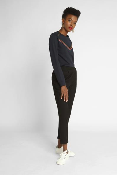 Taille Xl Longues Manches Cache PolyesterFemme Bleu Boutons Sweat Z80wXNnkOP