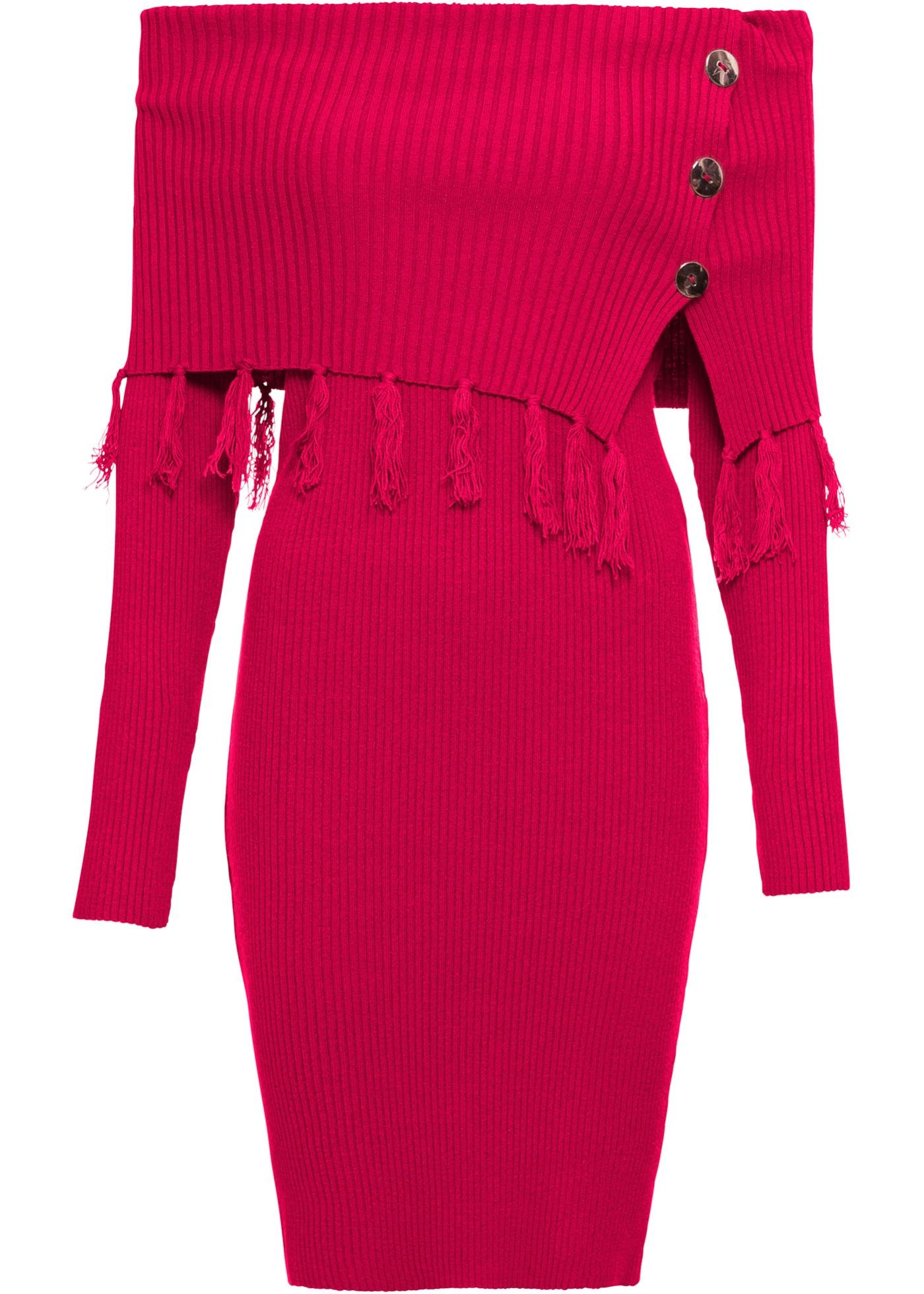 Pour Manches À Rouge Bodyflirt BonprixRobe D'été Femme Encolure Maille En Carmen Longues Boutique f7IbgyvY6