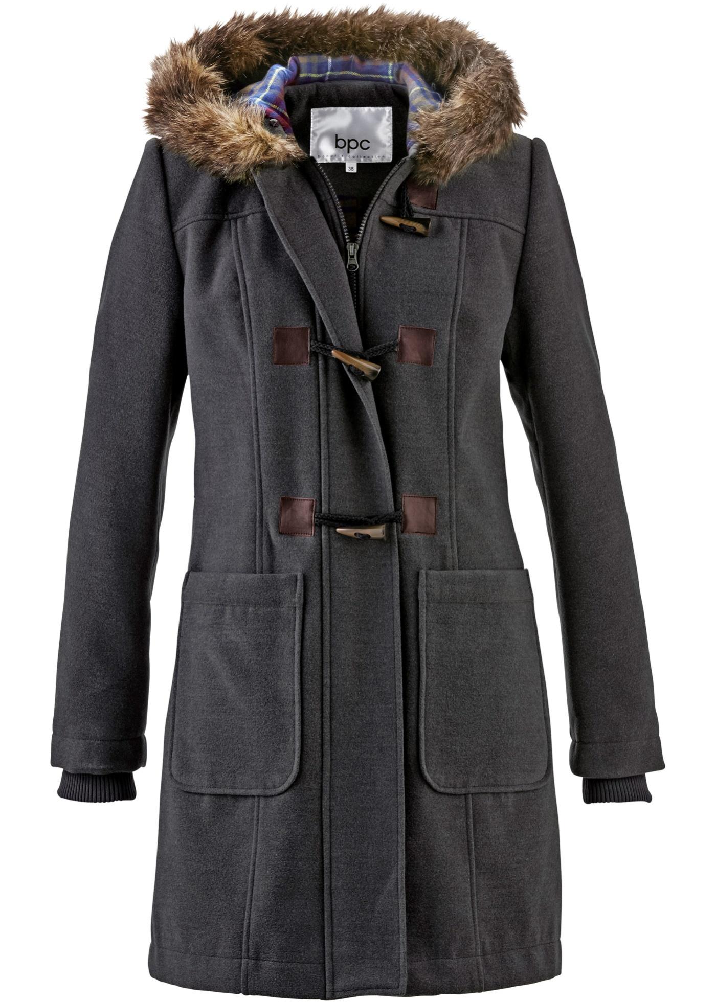 Bpc Pour À Femme Manches coat Longues CollectionDuffel Gris Bonprix Capuche OkNw0ZnPX8