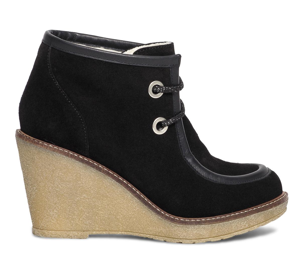 Velours En À Eram Boots Lacet Cuir Noir Compensé YWD29EHI