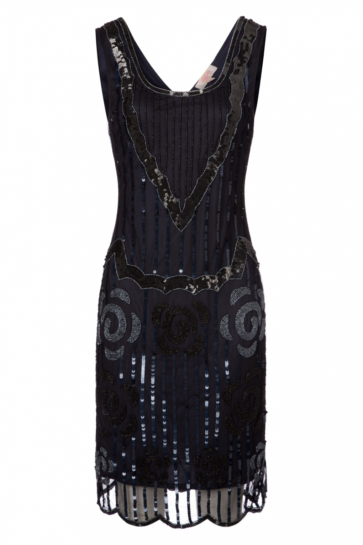 Noir En Bleu Et Gatsbylady Années Marine Flapper 20 Dress Audrey PXknwO80