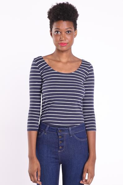 Femme Bleu Droit T CotonTaille Bonobo 3 Manches shirt 4 L Instinct srQdthCx