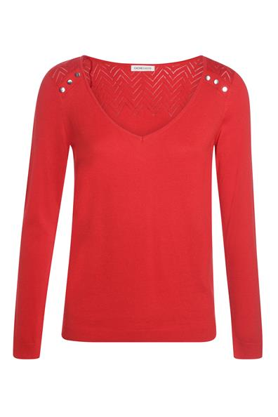 En Manches Maille ViscoseFemme Pull Rouge Longues Ajourée L Cache Taille D9HWE2IY