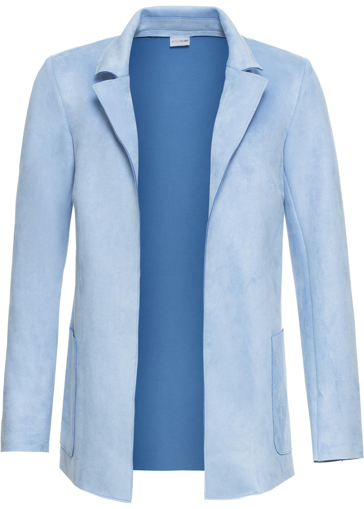 BonprixBlazer Bodyflirt Imitation Longues Manches Velours Synthétique Bleu Femme Cuir Pour eH9E2YIDW