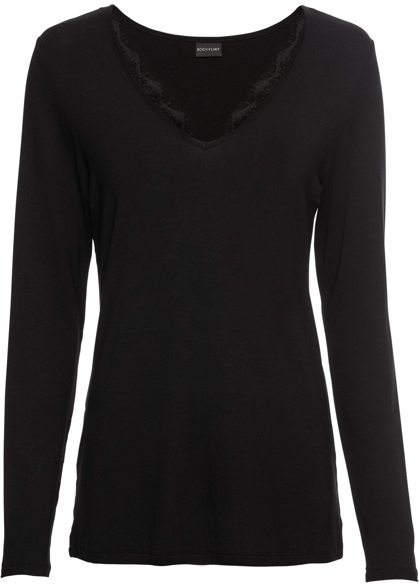 Dentelle Empiècement shirt Manches Femme Longues Pour Noir À Bodyflirt BonprixT QxCtdrsh